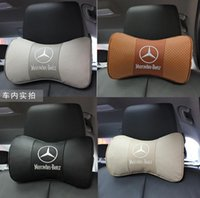 benz leather - Levels of Mercedes GLK GL class C E S level grade B R ML level leather headrest The bamboo carbon neck pillow Cowhide pillows