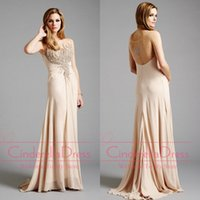 best of best - Best Selling Sweetheart Sheath Champagne Mother Of The Bride Dresses Chiffon Crystal Backless Brush Train Prom Gowns Evening Dress LA32291