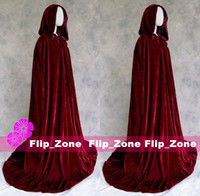 plain long sleeve - Burgundy Velvet Christmas Hooded Cloak Bridal Cloaks Capes Witch Cloak Winter Halloween Sweep Train Cheap Long Wedding Bridesmaid Wraps