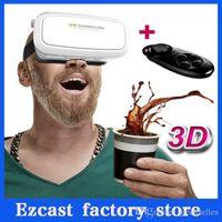 Wholesale 2015 Version Virtual Reality VR BOX VR Shinecon D Glasses google cardboard HD VR Glasses Phone Bluetooth remote control
