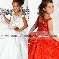 Wholesale 2015 Ritzee Glitz Ball Gown kids Girls Pageant Dresse Halter Capped Beads Crystal Floor length Zipper Girl Glitz Cupcake Pageant Dresses
