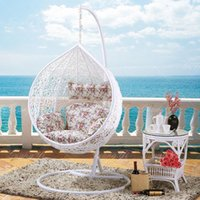 basket chairs hanging - Pe rattan factory imitation nest basket swing hanging chair indoor adult balcony casual chair cradle Teng hanging blue LD