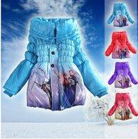 Wholesale 3 color Frozen Elsa Anna down winter coat Kids thick long cotton padded clothes Jacket Coat cartoon outwear Frozen A325