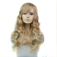 Wholesale Synthetic Wigs quot Long Ash Blonde Wig Curly Drag Queen Heat Resistant Cheap Fake Hair African American Afro Wig for Black Women