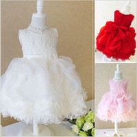 ribbon roses - Princess Flower Girl Dresses For Wedding Patry Brand Rose Lace Tutus Little Baby Girls Dress White Children s Clothing Y30255