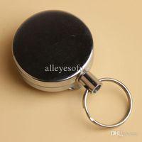 belt clip badge holder - Retractable Metal Card Badge Holder Steel Recoil Key Ring Belt Clip Pull Chain