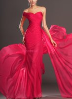Wholesale 2015 One Should Ruffle Floor Lenght Split Long Chiffon Ball Prom Evening Dress Zipper Formal Gowns Bridesmaid Dresses