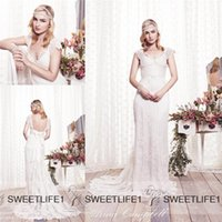 Wholesale Vintage Lace Backless Wedding Gowns Anna Campbell Sweetheart Cap Sleeves A Line Wedding Dresses Court Train Sexy Beach Bridal Gowns