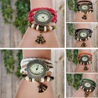 bell - Women Wrist Watch Charm Bracelet Leather Bracelets Vintage Bell Pendant Weave Wrap Quartz Wristwatches For Man DHL Factory Price
