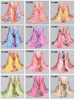 Wholesale 5pcs lady big long chiffon beach scarf sarongs cheap gree scarf shawls pashmina women floral extra large scarf shawls175 cm