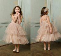 Cheap Flower Girl Dresses Glitz Wedding Toddler 2015 Pageant Champagne Tulle Ball Gowns Kids Formal Cheap For Little Girls Long Tea Length Dress