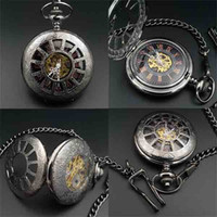 Wholesale cheap fob watches black case Hand Wind up mechanical pocket watch Crystals Movement Rose Gold Roman numerals