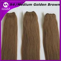 Pelo brasileño reúne 100% teje del pelo humano 100g trama 20inch # 9 / Medio de oro de Brown Remy Straight extensiones indias del pelo