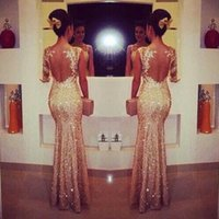 Wholesale 2015 Champagne Evening Dresses One Sleeve Long Sequins Evening Gowns Elegant Mermaid Formal Dress Party Evening Gowns New Arrival