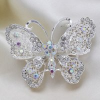 Wholesale 100 percent Excellent Quality New Arrival Fashion Silver Rhinestones Butterfly Women Wedding Brooches Pins For Women