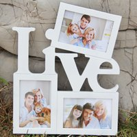 Wholesale 3 Pictures Frame and inch Photo Wall Family Pics White Love Live Combination Hanging On the Wall Home Decos