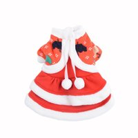 Wholesale Newly Design Christmas New Year Red Dog Clothes Umbrella Pattern Winter Warm Pets Dogs Coat Sweatshirts Sep17