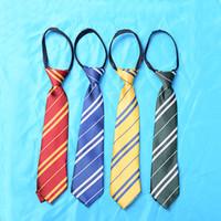 Wholesale Kids Harry Potter Ties Hogwarts Gryffindor Slytherin Ravenclaw Hufflepuff Zipper Striped Necktie Cosplay Gift for Children