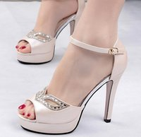 Cheap 2015 Summer Sandals Peep Toe Diamond Platform Cheap Shoes China Sexy Nude Stiletto For Women White