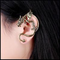 Wholesale New retro European American popular Punk domineering personality dragon Piercing earrings women men ear cuff alloy nightclub jewelry