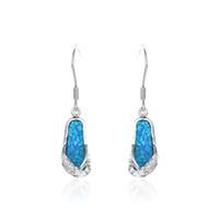 gemstone earrings - slipper synthetic opal earrings made of sterling silver fire opal jewelry No90 opal gemstone FE224
