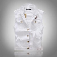Wholesale Fall All match Men White Jean Waistcoat Classic Vintage Jean Vest Classic Sleeveless Jean Jacket Asian Size M XXL