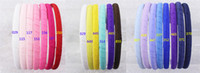 barrettes thin hair - New Infant Girl Colorful Boutique Hair Hoops Grosgrain Ribbon Thin Solid Headbands B000 mm pc P