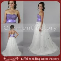purple and white wedding dress - Elegant Purple and White Wedding Dresses Sweetheart Neckline A line Sweep Train Sequins and Beads Lace up Bridal Gowns