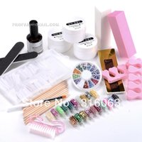 acrylic nail starter kit - Nail Art Full Set Acrylic Color UV Gel Kit Nail Tips Brush Glitter Starter Decoration Manicure Set NA750
