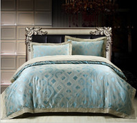 Wholesale Luxury Jacquard Silk Cotton Bedding Set Queen king Size Duvet Comforter Quilt Cover Bed Sheet Bedclothes For Bridal Wedding Cheap Sale