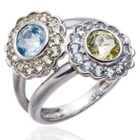aquamarine flower ring - Natural Aquamarine and Peridot Gemstone Solid Sterling Silver Flower Ring Fine Jewelry