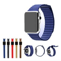 Wholesale Real Genuine Leather Loop Watchband For Apple Watch Leather Loop Band With Magnetic Closure For Iwatch Milanese Loop mm mm