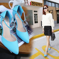 Wholesale Shoes Women Pumps Shoes Fashion Buckle Thin High Heels Pointed Toe Lady Microfiber Leather Shoes Size TZ0429
