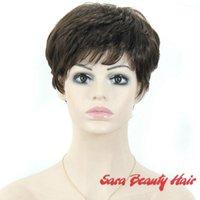 Wholesale 2Colors Women cute short wavy hair grey wigs wavy curly short black wigs for black women Japanese synthetic hair japan short hair wigs