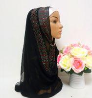 Wholesale Fashion Black Silk Crystal Muslim Hijabs Women Arabic Headscarf Cheap Hand Made