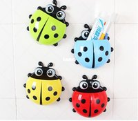 Cheap Fashion Hot 4 colors Cute Ladybug Cartoon Sucker Toothbrush Holder suction hooks Household Items toothbrush rack bathroom set