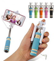 Wholesale Super mini Cable control Selfie stick Remote shutter Extendable Wired Monopod Selfie Stick for IOS Android Universal cell phones