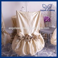 ruched chair covers - CH030H nice taffeta ruched ruffled champagne chair cover with flower