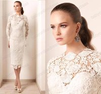 Wholesale 2016 Cheap ivory lace mother of the bride dresses long sleeves tea length sheath short style prom cocktail gowns BO4649