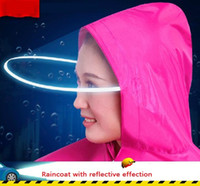 plastic raincoat - Electric motorcycle raincoat Adult single transparent fashion brim increasing thickness large poncho for men and women