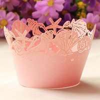 paper muffin cups - 12pcs Pink Seashell laser cut cupcake wrapper muffin paper cup cake liner holder wedding brithday party supply