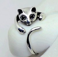 animal fashion rings - S fashion Cute Silver Cat Shaped Ring With Rhinestone Eyes Adjustable and Resizeable high quality