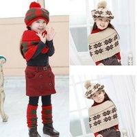 Wholesale Boys girls pashmina shawl scarf and hat set caps sock cappa set bear woolen yarn hat snowflake snapback hats colors YQS G3800