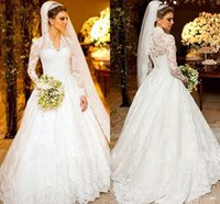 muslim bridal gown - 2015 New A line Wedding Dresses Modest Long Sleeve Lace Bridal Gowns Muslim Style Long Train Bride Dress
