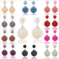 pearl alloy earrings - Hot Korea Fashion earrings female Europe Ear ornament both sides wearing earring sided size pearl earrings stud jewelry
