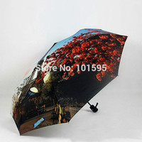 anti wind umbrella - New Creative Novelty Romantic Exquisite Beauty Floral Landscape Oil Painting Folding Umbrella Anti uv Rain Snow Wind Sunshine