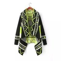 Wholesale 2015 Fall Fashion For Women Cardigan Sweater Geometric Patterns Irregular Long Sweater Poncho Full Sleeve Female Knit Cardigans