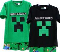 Wholesale 2015 children clothing sets Mine Craft Minecraft boys short sleeved top pants pajamas sleepwear set Minecraft Children s summer suits