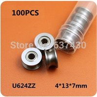 Wholesale 100pcs U624ZZ U Groove pulley wheel bearings x x mm track guide roller bearing u shaped slot UU