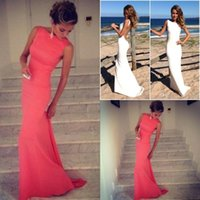 Wholesale Coral Evening Gowns Vintage High Neck Backless Prom Dresses Long Wedding Party Dress Fitted Beach Maxi Party Dress under
